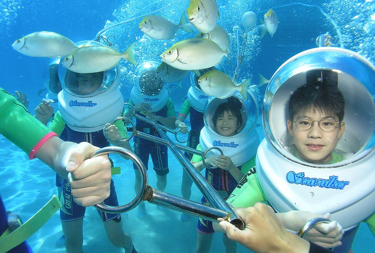 Helmet Diving on the Great Barrier Reef   Seawalker Green Island